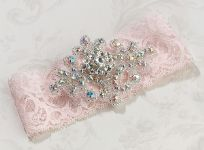 Pink Jewelled Wedding Garter